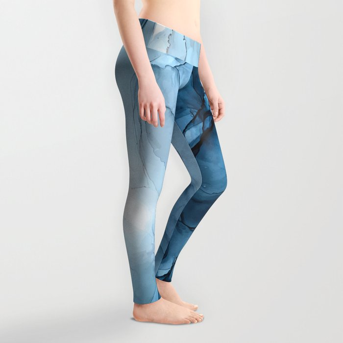 Deep Blue Flowing Water Abstract Painting Leggings
