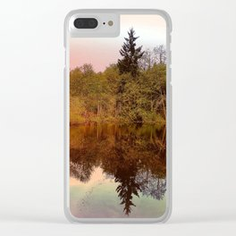 Mirror Pond, Perfect Stillness At Sunset Clear iPhone Case