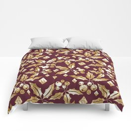 Christmas pattern.Gold sprigs on a dark Burgundy background. Comforters