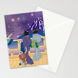 Hokusai People Seeing Mt. Fuji under the Stars Stationery Cards