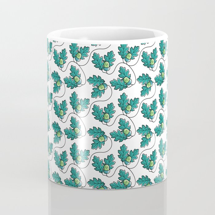 Kawaii Cute Acorn with Oak Leaves Coffee Mug
