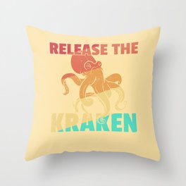 Octopus Squid Kraken Vintage Retro Throw Pillow
