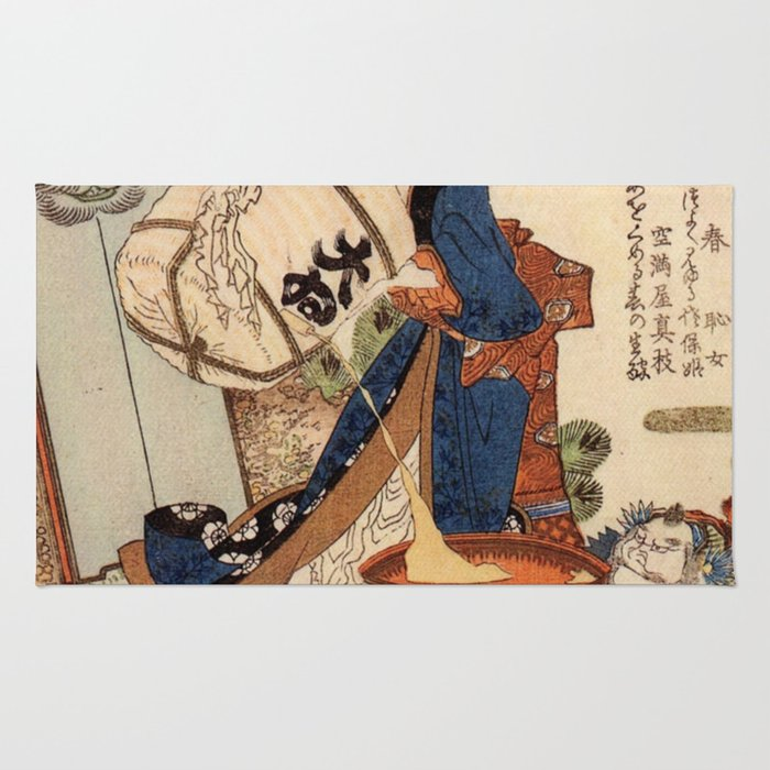 The Strong Oi Pouring Sake by Katsushika Hokusai Rug