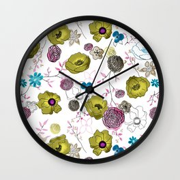 Snow large floral on white Wall Clock