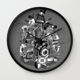photo, camera, photographer, cheese, mouse, lady, session, collage, vintage, engraving, Wall Clock