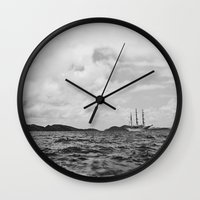 pirate ship Wall Clocks featuring PIRATE SHIP by Eliesa Johnson