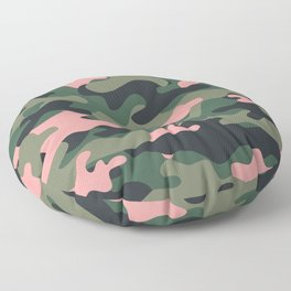 Girlie Green Pink Camouflage Floor Pillow