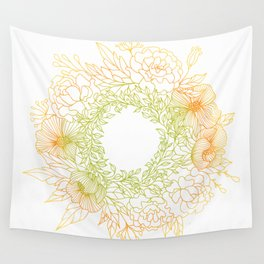 Tangerine and Olive Flowery Linocut Wreath Wall Tapestry