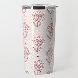 Elegant rose gold burgundy geometrical floral pattern Travel Mug