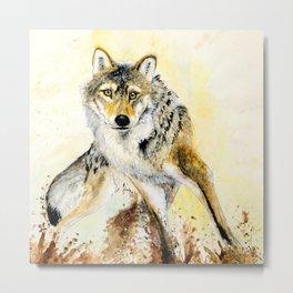 Totem Grey wolf Metal Print