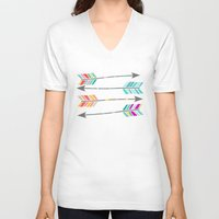 arrow V-neck T-shirts featuring ARROW by Little Letter