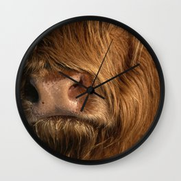 NOSEY HIGHLAND COW Wall Clock