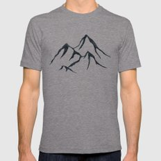 MOUNTAINS - Black and White Vintage Rustic Adventure Wanderlust Art Tri-Grey X-LARGE Mens Fitted Tee