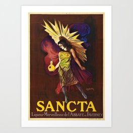 Vintage Sancta liqueur merveilleuse de l'abbaye Advertisement Poster by Leonetto Cappiello Art Print