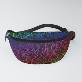 Elio's Shirt Faces Holographic Neon Rainbow Fanny Pack