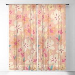 Tropicana Floral - pink Sheer Curtain