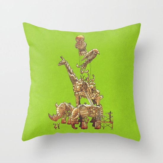 The Clockwork Menagerie (Lime) Throw Pillow