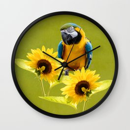 Blue-and-yellow macaw and sunflowers Wall Clock