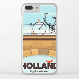 Holland Bicycle travel poster Clear iPhone Case