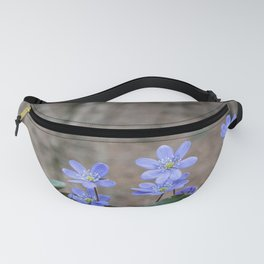 group of spontaneous flowers with lilac petals and white pistils Fanny Pack