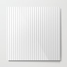 Dove Grey Pin Stripes on White Metal Print