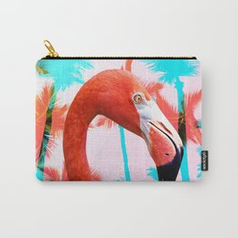 Bright Pink Tropical Flamingo Carry-All Pouch