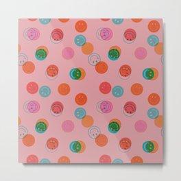 Smiley Face Stamp Print in Pink Metal Print