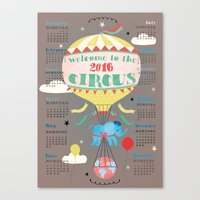 calender Canvas Prints featuring Welcome to the Circus 2016 Calender by Elisandra