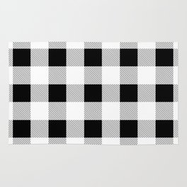 western country french farmhouse black and white plaid tartan gingham print Rug