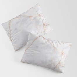 White Italian Marble & Gold Pillow Sham