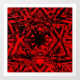 red and black kaleidoscope confusion Art Print