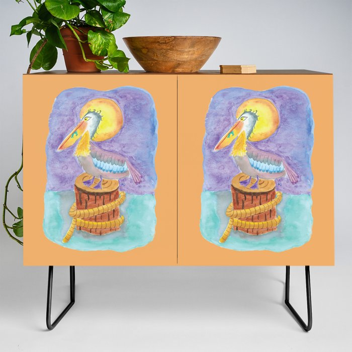 Pelican_on_a_piling_Credenza_by_iCraftCafAc__Black__Walnut