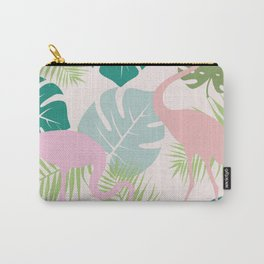 Green Leaves and Pink Flamingo pattern Carry-All Pouch