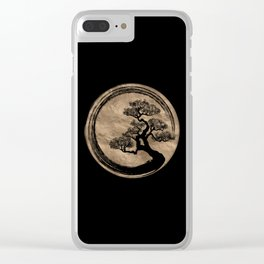 Enso Zen Circle and Bonsai Tree Gold Clear iPhone Case