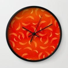 Orange feathers Wall Clock