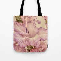 shabby chic Tote Bags featuring Shabby chic gladioli by Shalisa Photography