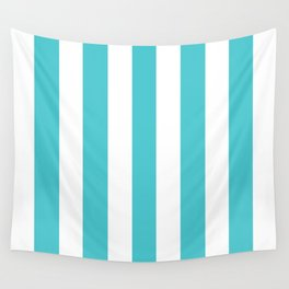 Sea Serpent turquoise - solid color - white vertical lines pattern Wall Tapestry