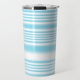 Sky Blue and White Stripes Travel Mug