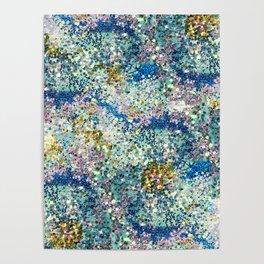 Glittery Ocean Waves Poster