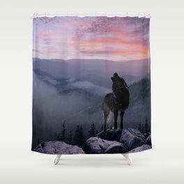 Lone Wolf at Sunset Ridge Shower Curtain