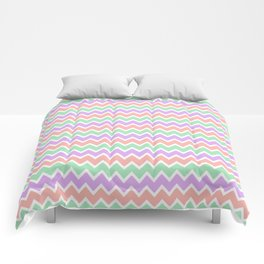Coral Peach Pink and Lavender and Mint Green Chevron Comforters