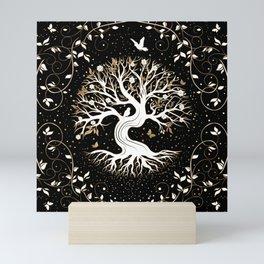 Tree of Life - Yggdrasil - black white and gold Mini Art Print