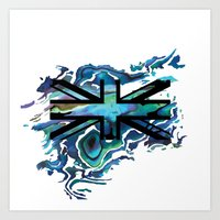 union jack Art Prints featuring Union Jack by Boz Designs