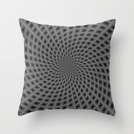 Spiral Rays in Monochrome Throw Pillow