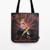 princess peach Tote Bags featuring Princess Peach Pin Up by Head Glitch