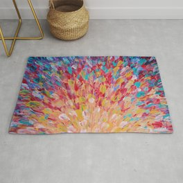 SPLASH - WOW Dash of Cheerful Color, Bold Water Waves Theme, Nature Lovers Modern Abstract Decor Rug
