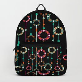 Abstract folk african pattern. Multi-colored circles rings. Backpack