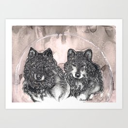 Tale of Two Wolves Art Print