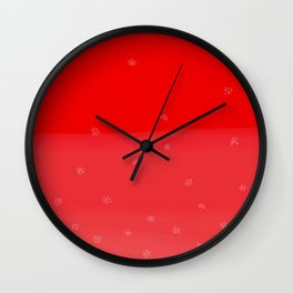 Snowflakes in Red Wall Clock
