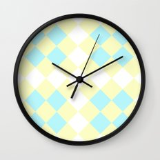 Checkers Yellow/Blue Wall Clock